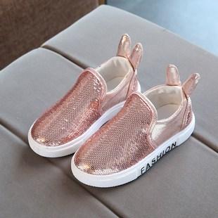 童鞋帆布鞋秋季新款版女孩一脚蹬亮片兔耳朵鞋子