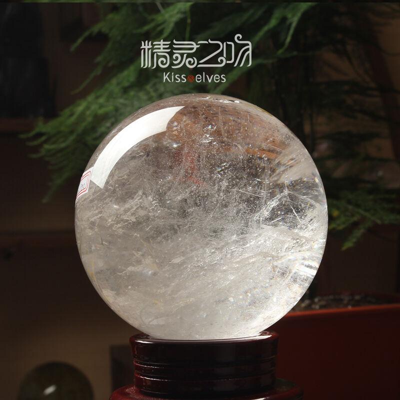 天然水晶摆件然白水晶球摆件原石打磨居家装饰风水球直径约30cm棉