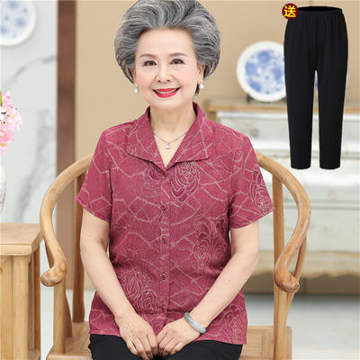 248b99c28798 Grandma loaded short-sleeved suit 50-60-70 years old seniors summer shirt mother  dress lapel shirt old clothes