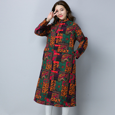 2017 autumn and winter national wind women's loose long-sleeved cotton jacket retro printing cotton long coat cotton jacket