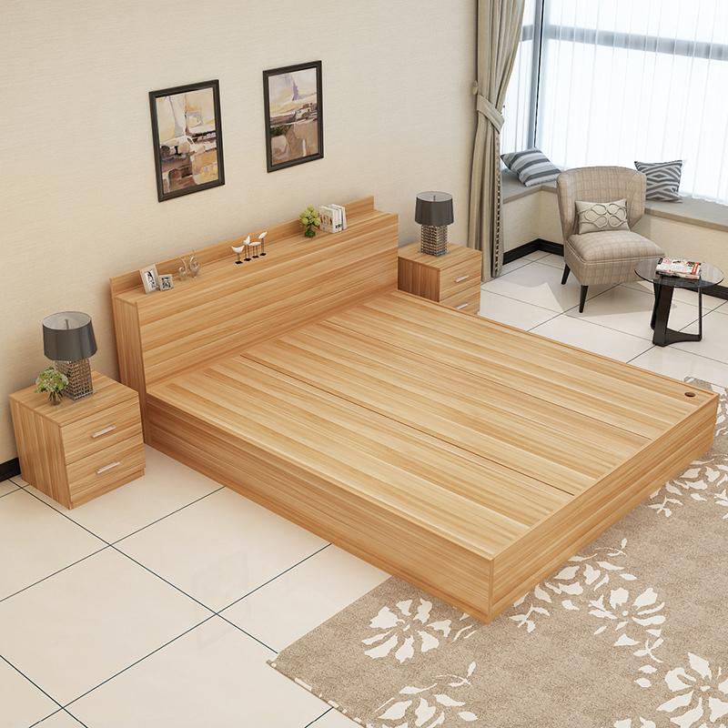 Современный простой пластина кровать 1.2 метр 1.5 метр 1.8 3м кровать татами высокий ящик хранение кровать деревянный господь ложь