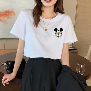 韩国东大门2020年新款女装潮白色t恤女短袖宽松纯棉夏季米奇体恤