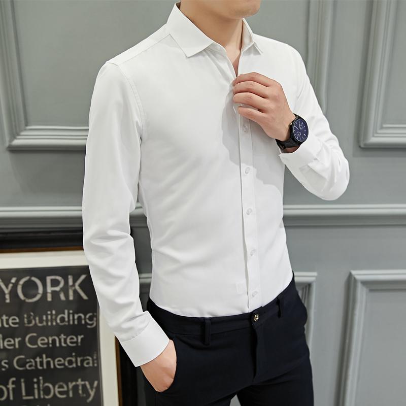 男士长袖纯色商务白色短袖衬衫修身时尚职业办公衬衣上班工装寸衫