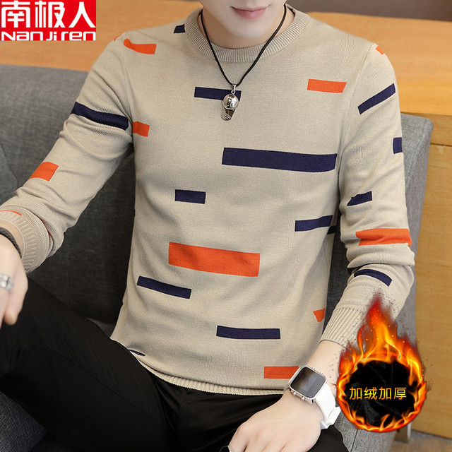 Antarctic people autumn and winter round neck head long-sleeved sweater men's trend slim bottoming shirt men's sweaters wire