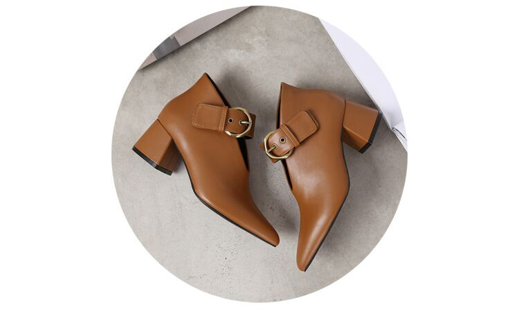 European and American style with new leather retro boots deep V-neck pointed women's shoes buckle belt bare boots winter boots 109 Online shopping Bangladesh
