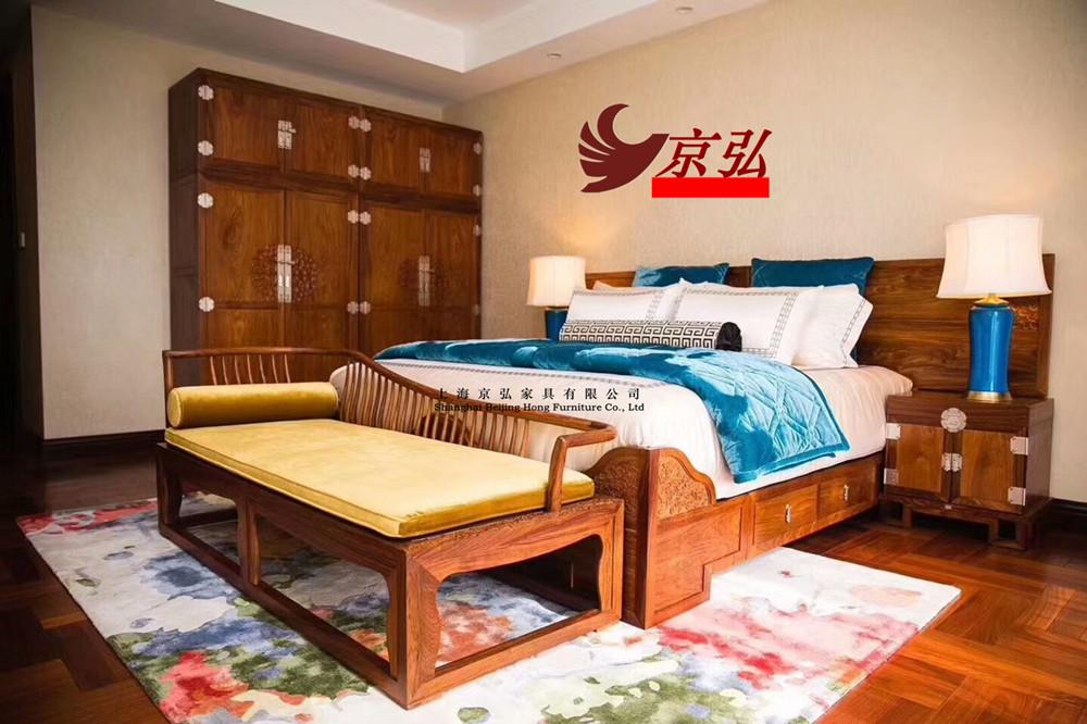 Hedgekey gỗ hồng mộc mới Trung Quốc giường đôi 1,8 mét phòng ngủ chính gỗ gụ tất cả gỗ rắn gỗ hồng sắc giường cưới Su Zuo đồ nội thất - Bộ đồ nội thất