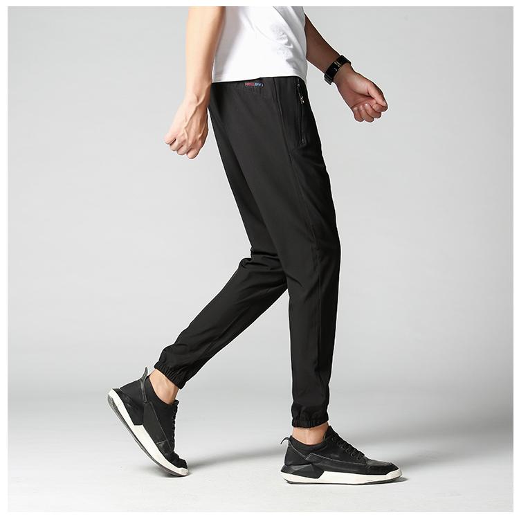 Băng lụa quần âu nam chín quần mùa hè siêu mỏng Hàn Quốc phiên bản của xu hướng của bàn chân đàn hồi và chân quần dài XL