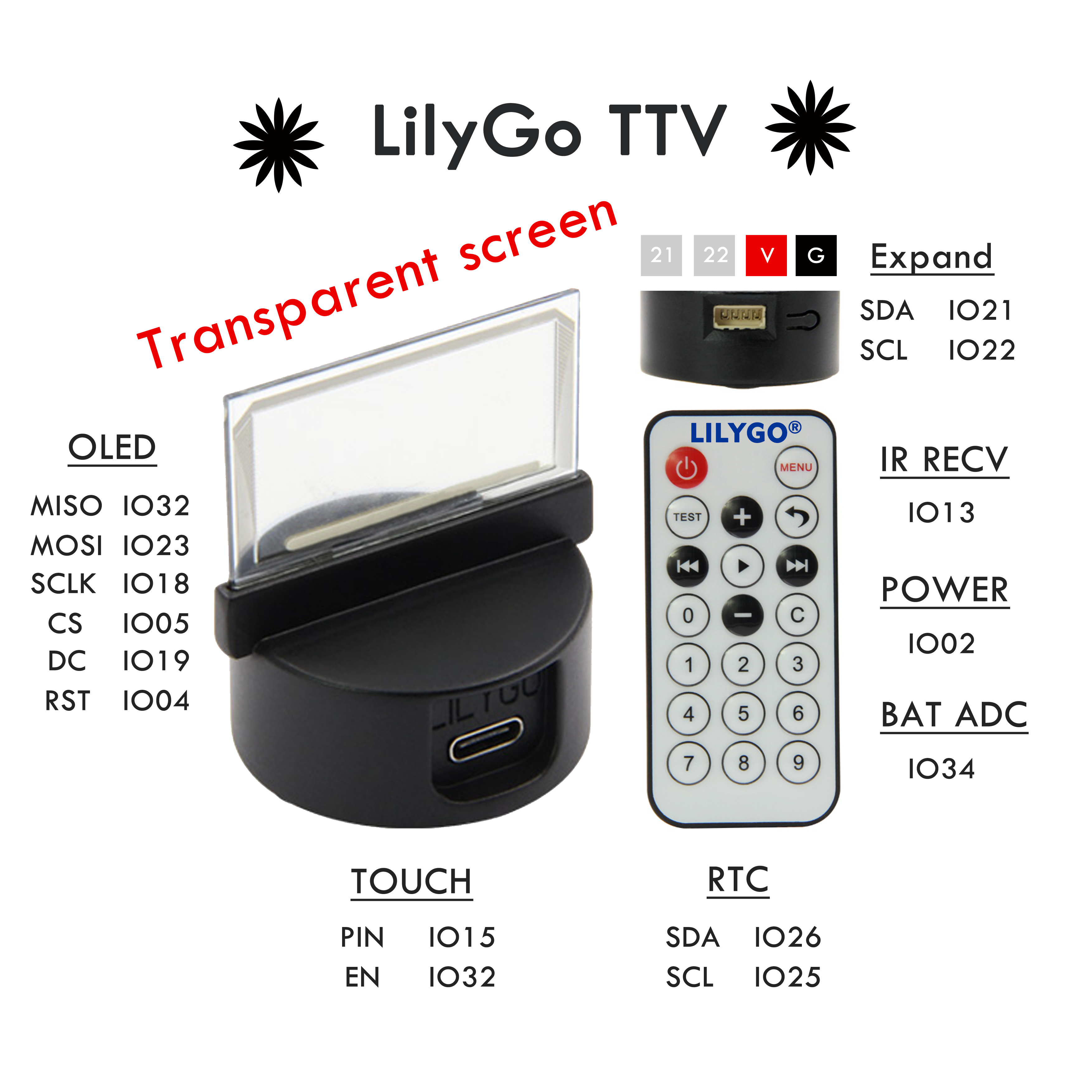 LILYGO TTV transparent screen OLED infrared remote control programmable mini TV ESP32 for Arduino micropython programming
