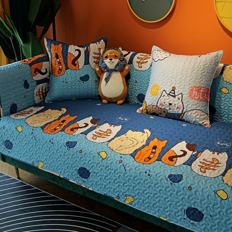 新品可爱布艺全棉沙发垫四季通用防滑坐垫沙发巾沙发盖布套罩简约