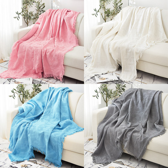 Nordic solid-colored sofa towel inshas released full-cover net red blanket single simple sofa set sofa cushion cover cover