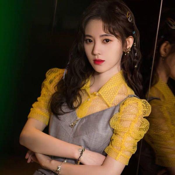 袖子同款鞠婧同款吊带衬衫+系带连衣裙明星件套百褶裙两黄色装