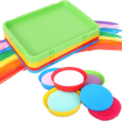 Color palette with sponge large kindergarten children diy creative painting graffiti art students with paint tray