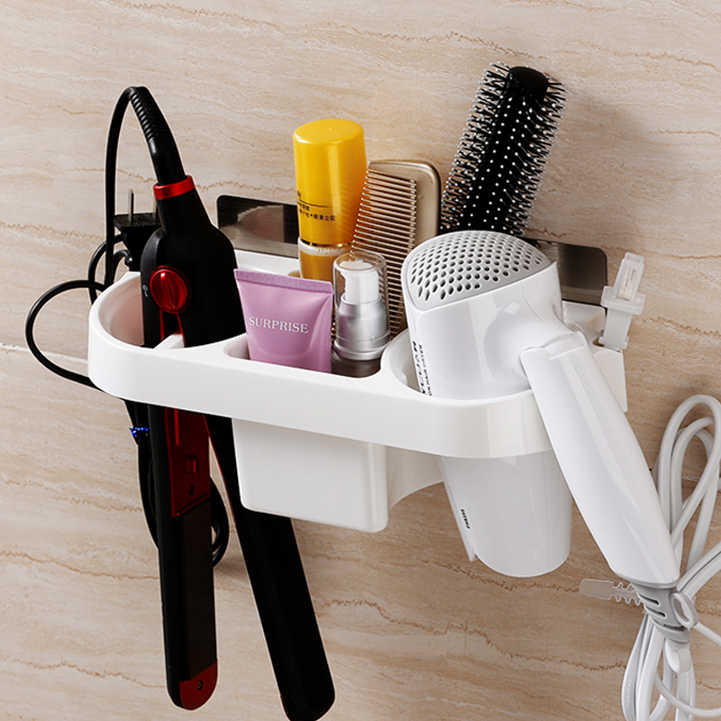 Suction Cup Hairdryer Rack Free Perforated Toilet Hair Dryer Rack Bathroom  Shelves Wall Storage Duct