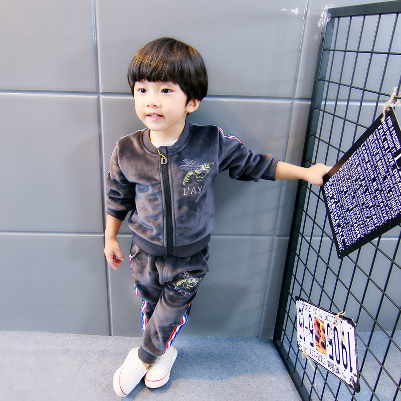 Children s autumn and winter wear men and women 1-2-3-4-year-old Tide suit  0 baby cotton plus velvet thick winter clothes coat cotton trousers 2eeeda3003