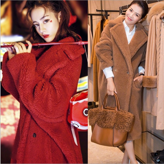 Pregnant women's fur and lamb woolen coat winter new product star same paragraph thick teddy bear long coat pregnant women