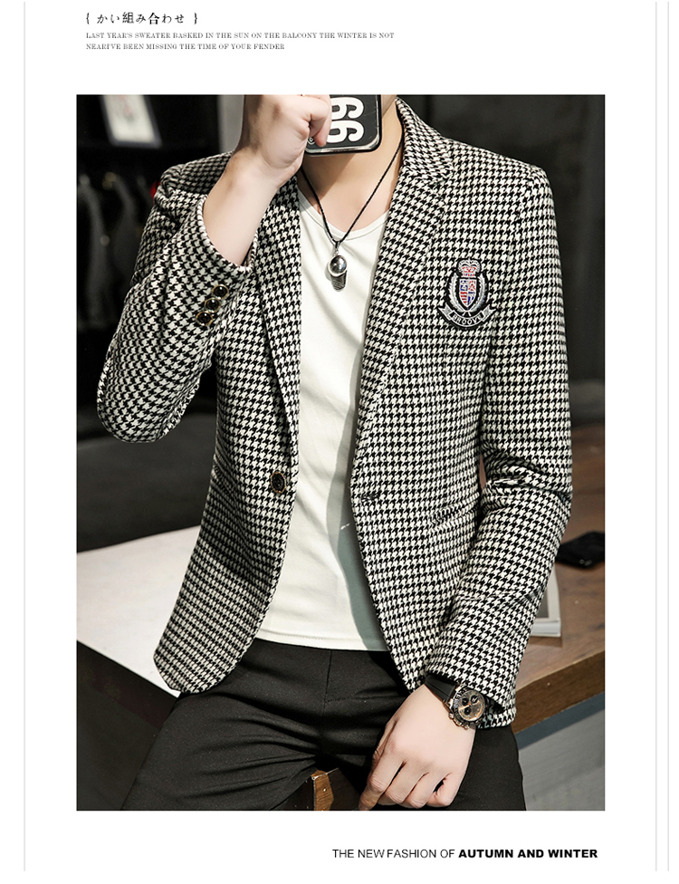 Young Thousand Birds grid slim suit Korean version of the trend Spring and Autumn men's social guy suit jacket British single west 56 Online shopping Bangladesh