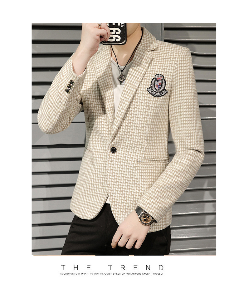 Young Thousand Birds grid slim suit Korean version of the trend Spring and Autumn men's social guy suit jacket British single west 62 Online shopping Bangladesh