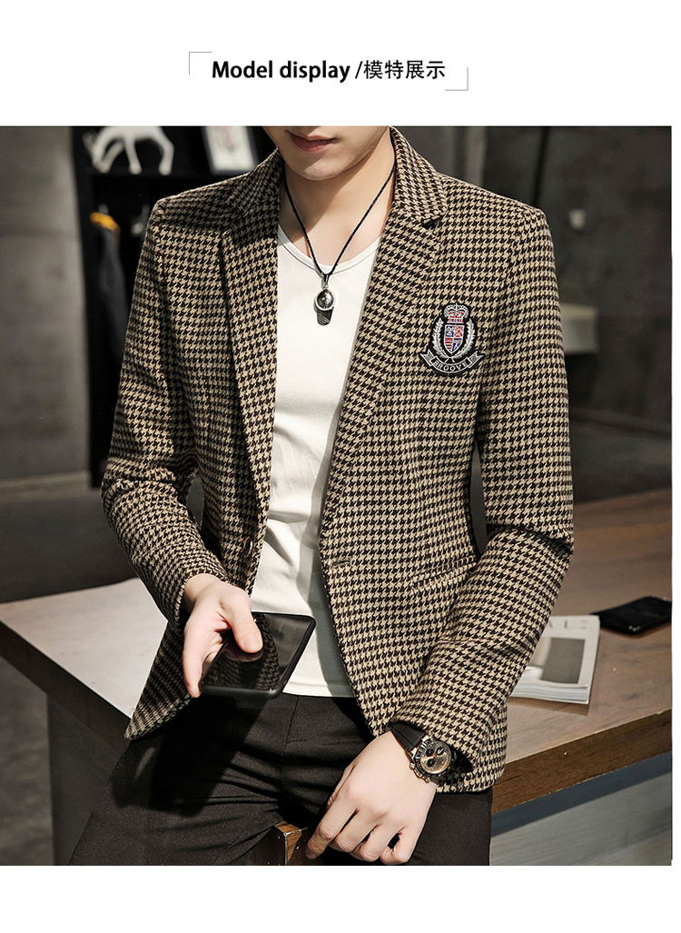 Young Thousand Birds grid slim suit Korean version of the trend Spring and Autumn men's social guy suit jacket British single west 51 Online shopping Bangladesh