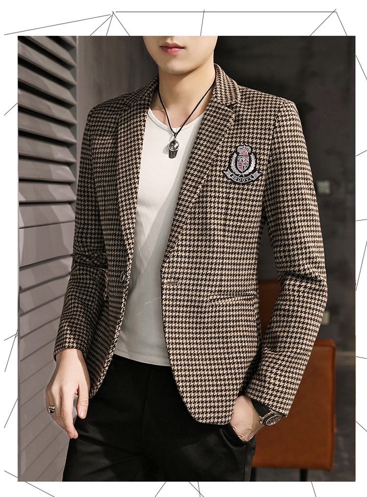 Young Thousand Birds grid slim suit Korean version of the trend Spring and Autumn men's social guy suit jacket British single west 53 Online shopping Bangladesh