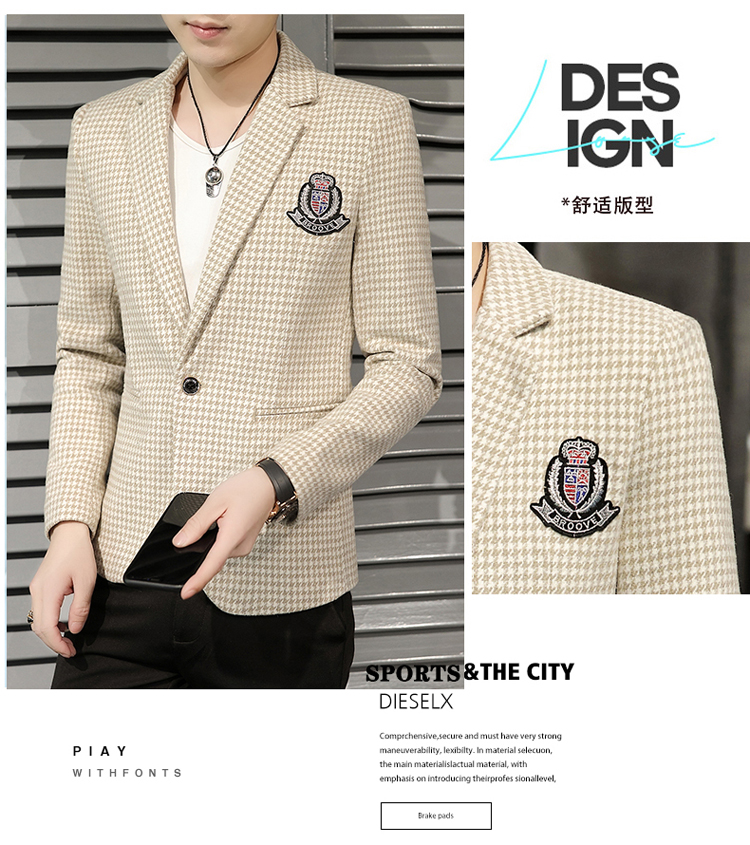 Young Thousand Birds grid slim suit Korean version of the trend Spring and Autumn men's social guy suit jacket British single west 44 Online shopping Bangladesh