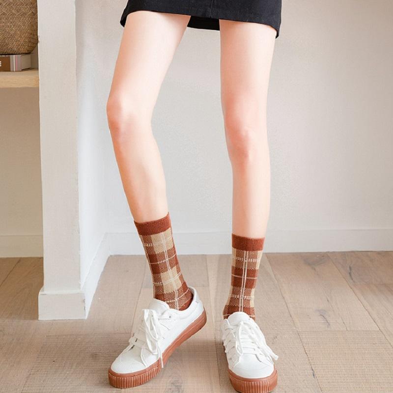 3双装英伦风中筒袜双针精梳棉韩版复古潮袜