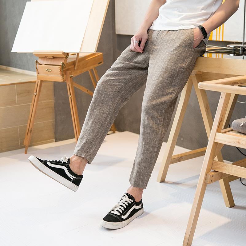 中国风男裤薄款夏季条纹9九分裤宽松休闲裤棉麻裤亚麻沙滩麻料布