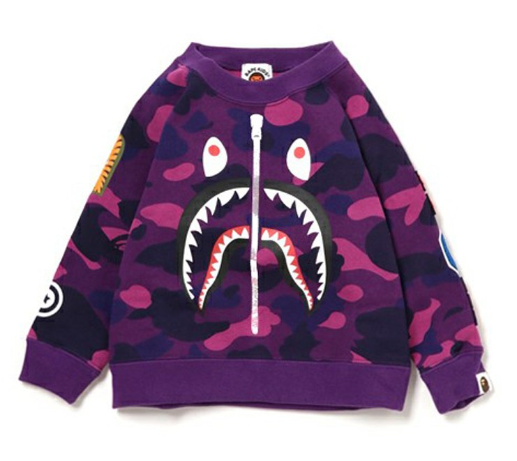 0df408e23929 Children spring and autumn Tide brand BAPE male and female large children  camouflage shark long-sleeved sweater Ape Head baby coat
