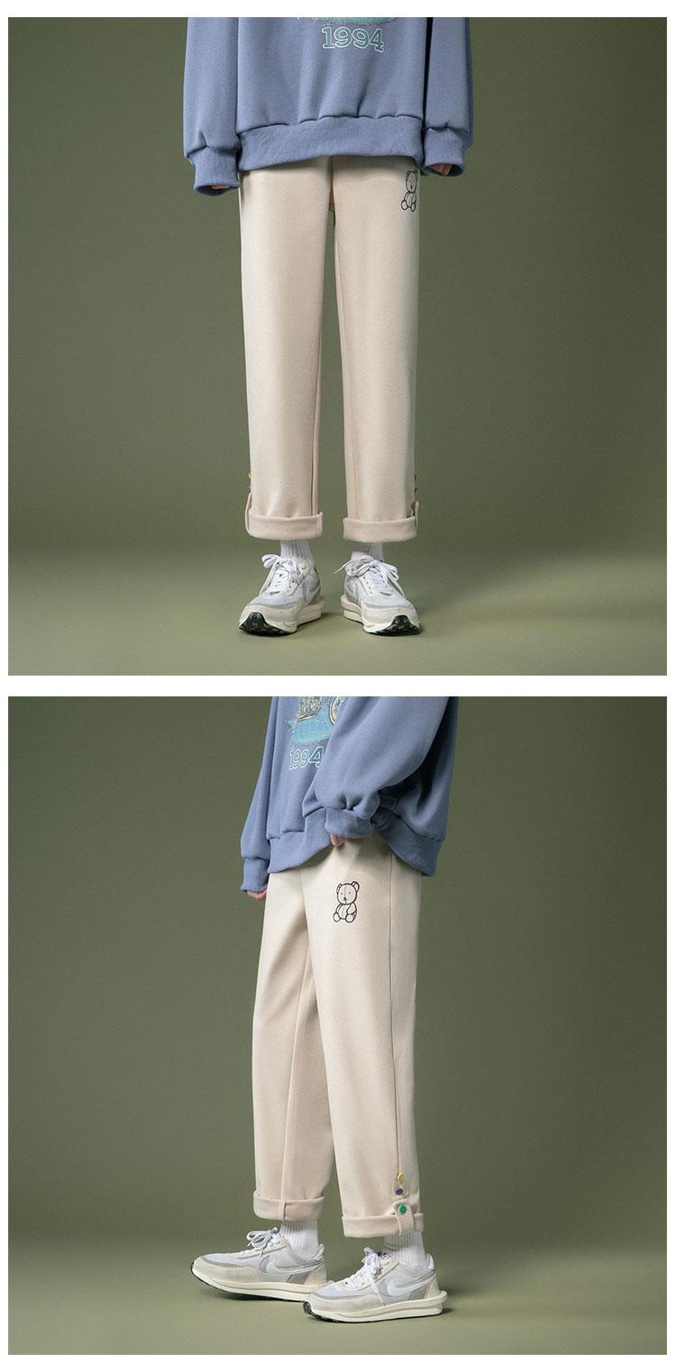 戶外之家文藝男女店褲子男2021年新款正韓潮流百搭秋冬直筒毛呢加厚休閒褲