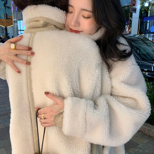 ASM2018 winter new alpaca-haired sheep shear edging coat in the long loose temperament fur coat woman