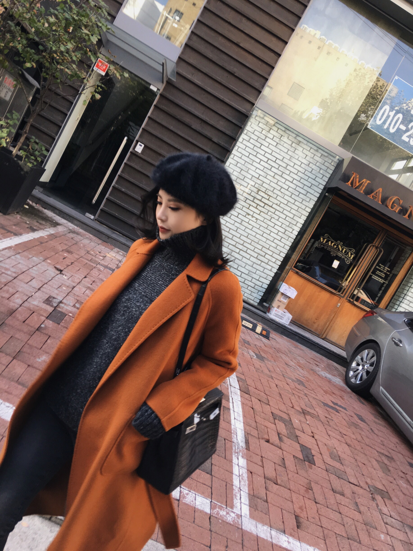 женское пальто Asm2016a/w темперамент золотой коричневый одеяние пояс двухсторонний рука зима шерсти