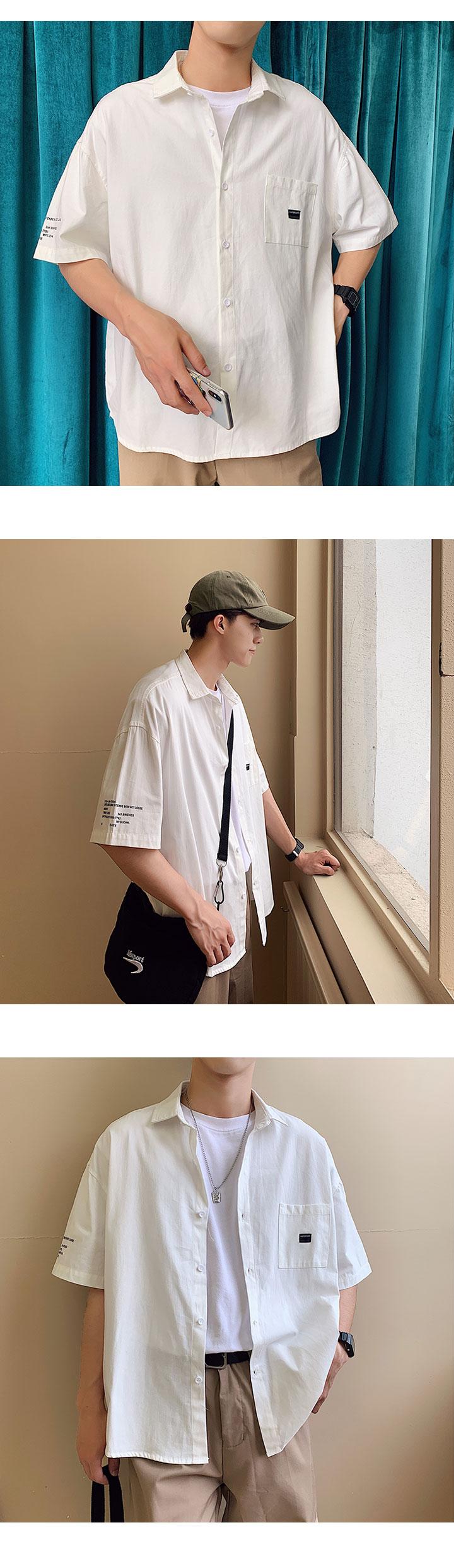 20新款半袖字母印花衬衣港风衬衫男休闲百搭衬衣D321 CC09 P48