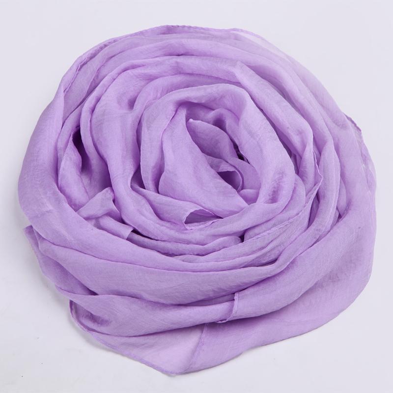 浅紫色雪纺丝巾女士春春季长款围巾新款2018春天百搭薄款纯色纱巾