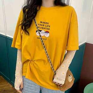 小雏菊纯棉短袖t恤女ins潮2020年夏装韩版大码宽松体袖橘色上衣服