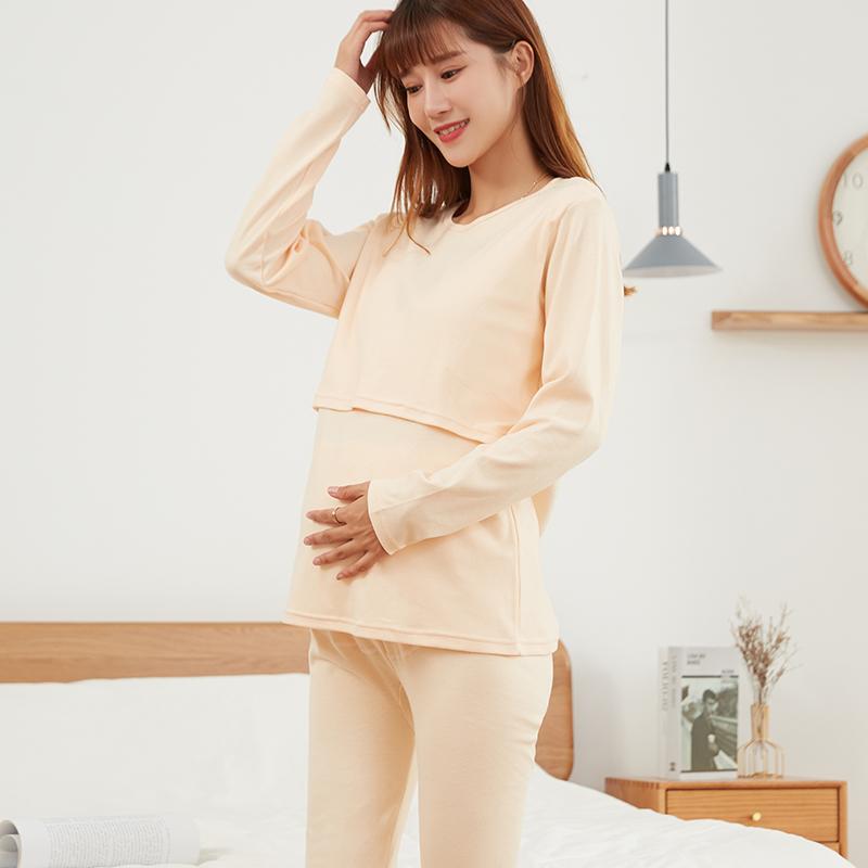 孕妇秋衣秋裤套装纯棉内衣怀孕期月子服产后哺乳睡衣秋冬季棉毛衫