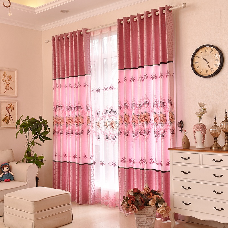 USD 22.05] Embroidered European curtains finished shading curtains ...