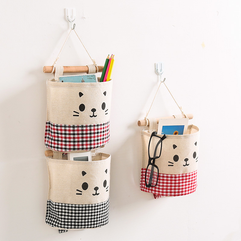Cotton Single Pocket Storage Bag Small Hanging After The Door Fabric Finishing Wall