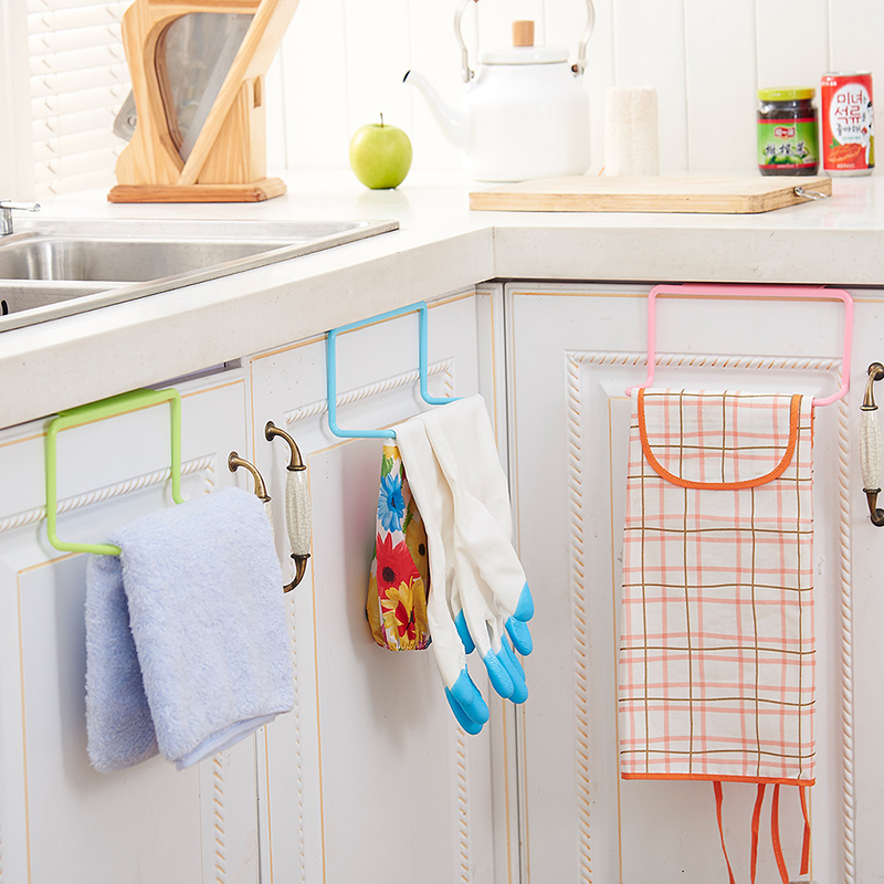 Cabinet Door Back Single Pole Towel Rack Kitchen Plastic Non Perforated Rag  Rack Seamless
