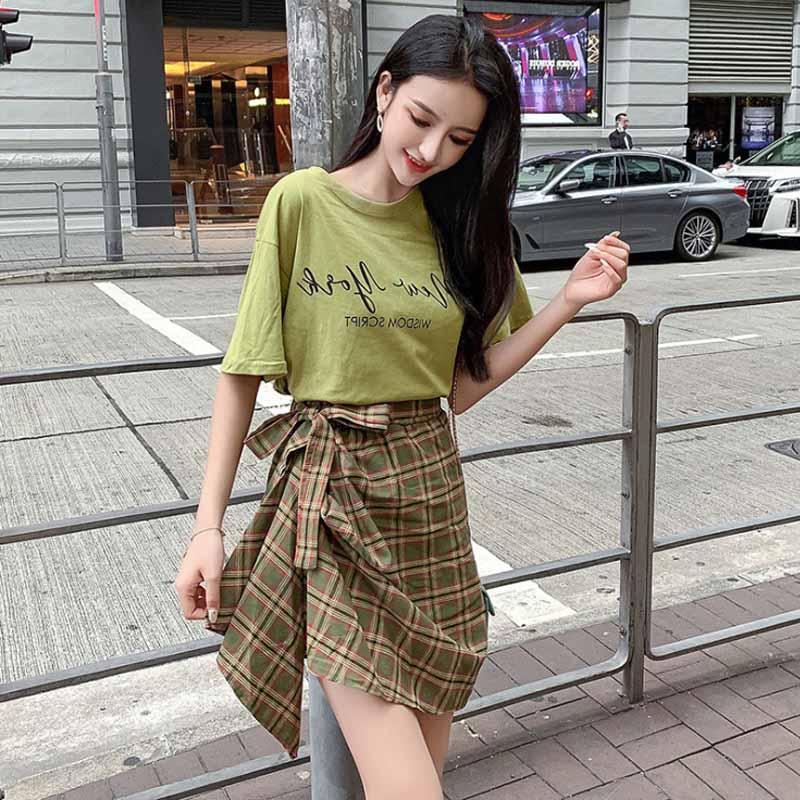 半身裙套装女2019夏季新款字母印花短袖洋气减龄时尚不规则格子裙