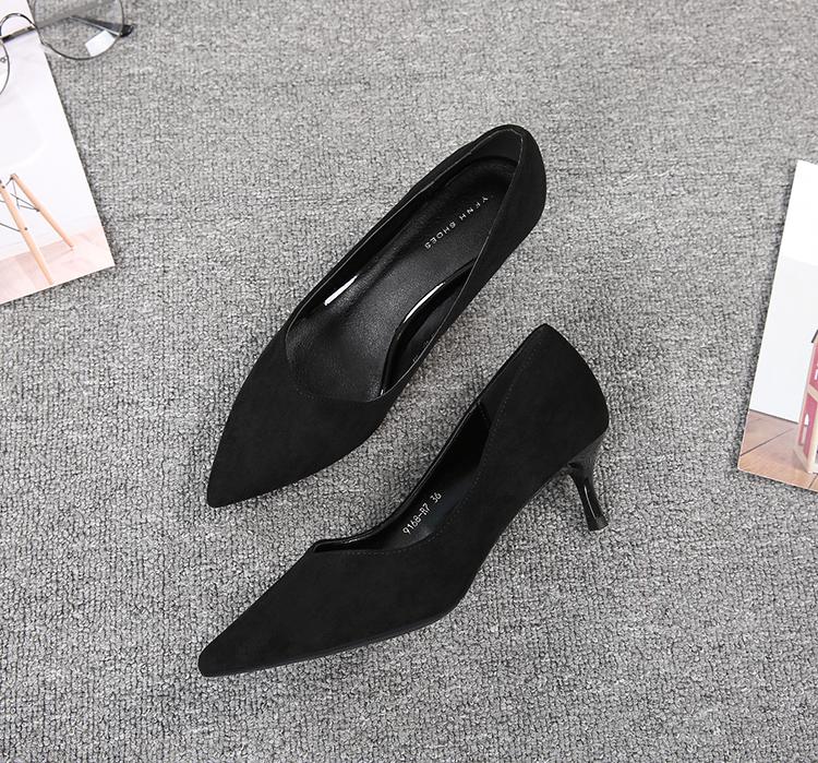空乘尖头细跟高跟鞋女软皮中跟职业黑色工作鞋矮跟正装礼物仪单鞋子详细照片