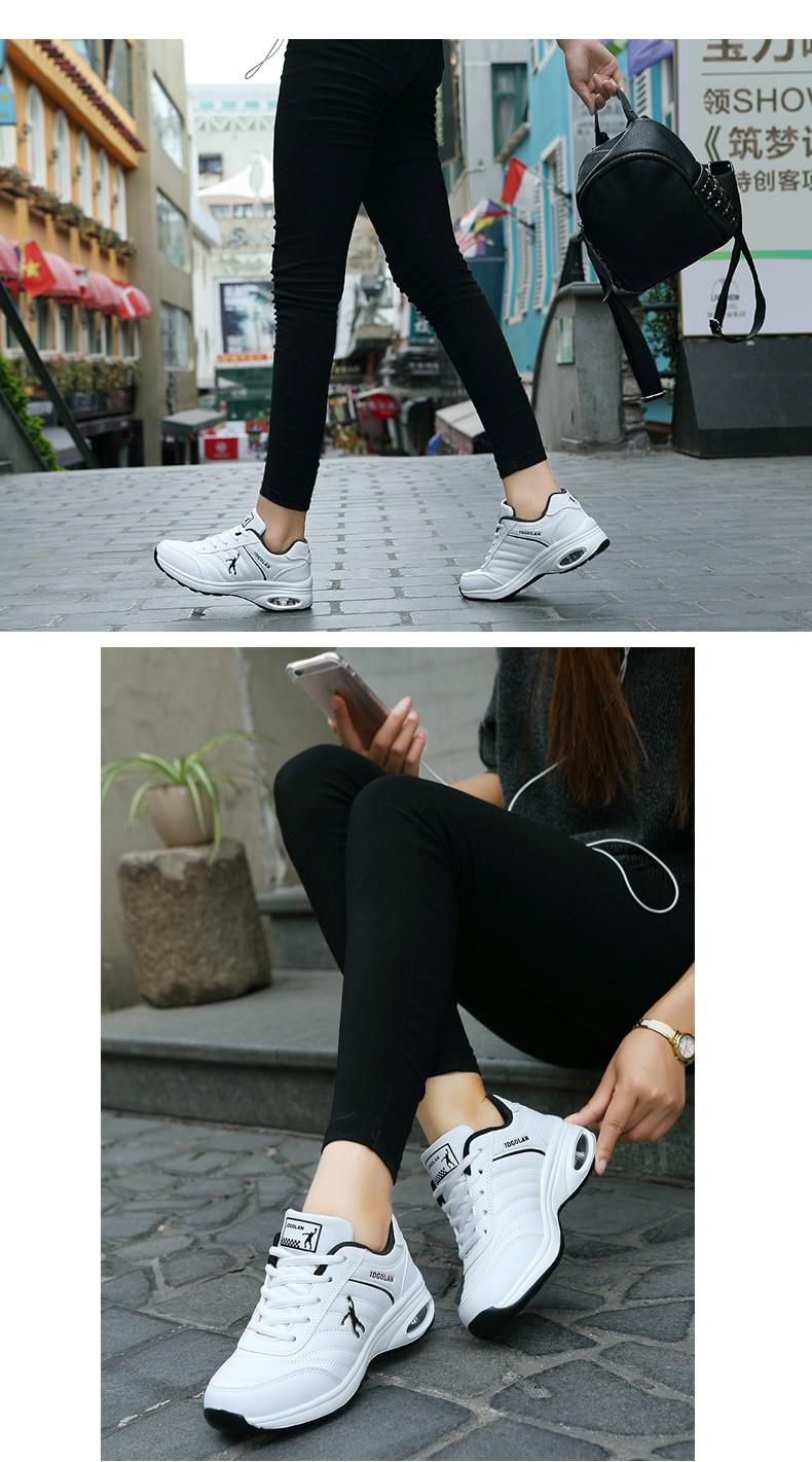 春季乔丹格兰男女跑步鞋防水皮面白色运动轻便休閒旅游小白鞋详细照片
