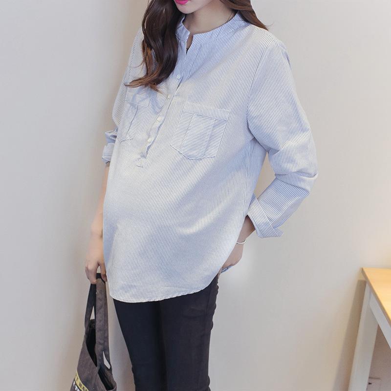 Thời trang bà bầu mùa xuân và thời trang Thời trang mới Hàn Quốc Sọc mới cho con bú Áo sơ mi cỡ lớn Đầm bầu - Áo thai sản