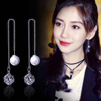 Long flow Su Simple earrings pearl earrings female S925 sterling silver earrings temperament Japanese South Korea Simple zircon ear nail