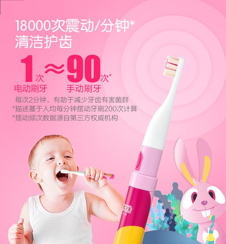 Saky 舒客 声波儿童电动牙刷 含6个刷头+1支牙膏+1牙刷盒 图3