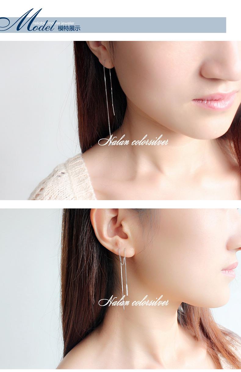 纯银耳炼女长版耳坠气质流苏耳环长线耳炼珍珠超仙耳饰玫瑰金详细照片