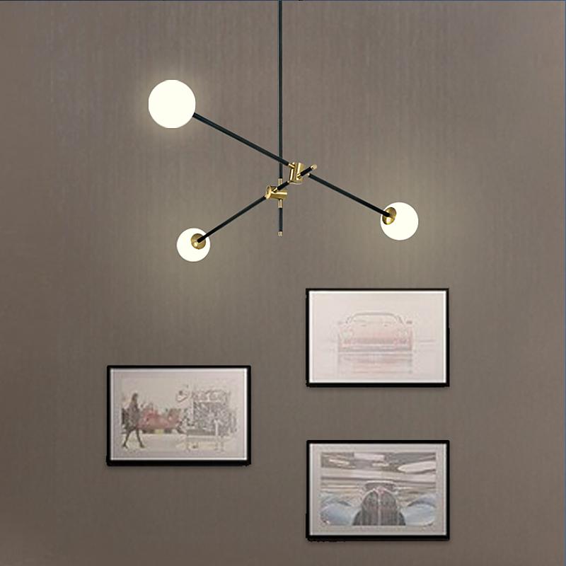 魔豆造型卧室线条北欧复古简约个性分子客厅创意ins几何吊灯餐厅