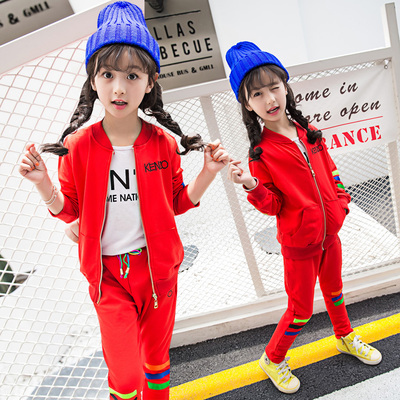 Girls spring and autumn children's clothing 2017 new suit fall long-sleeved girl casual two-piece suit in the large children casual jacket