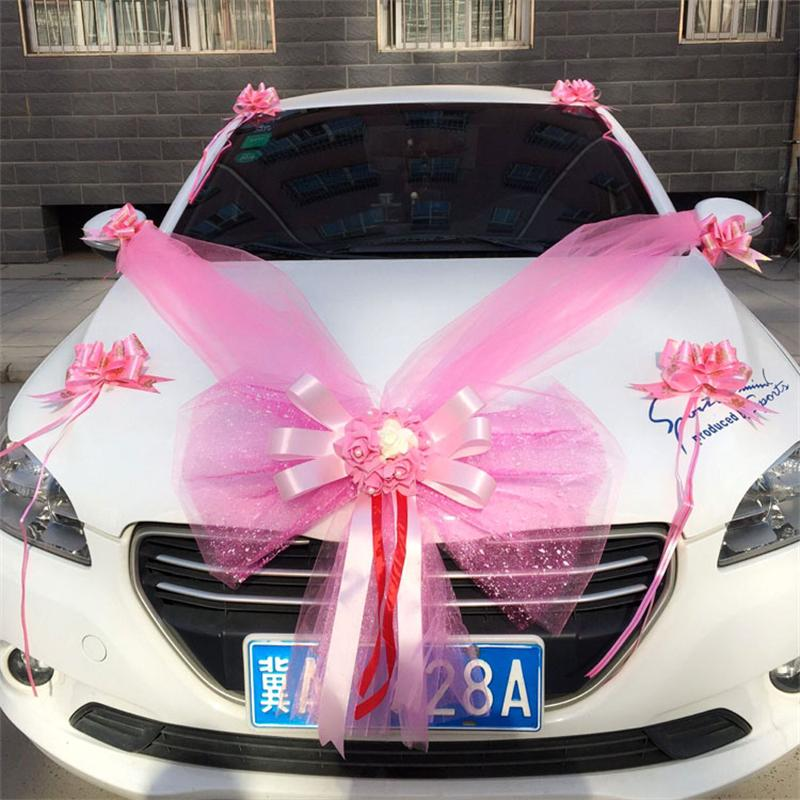 USD 9.08] Wedding car decoration supplies set car flower car ...