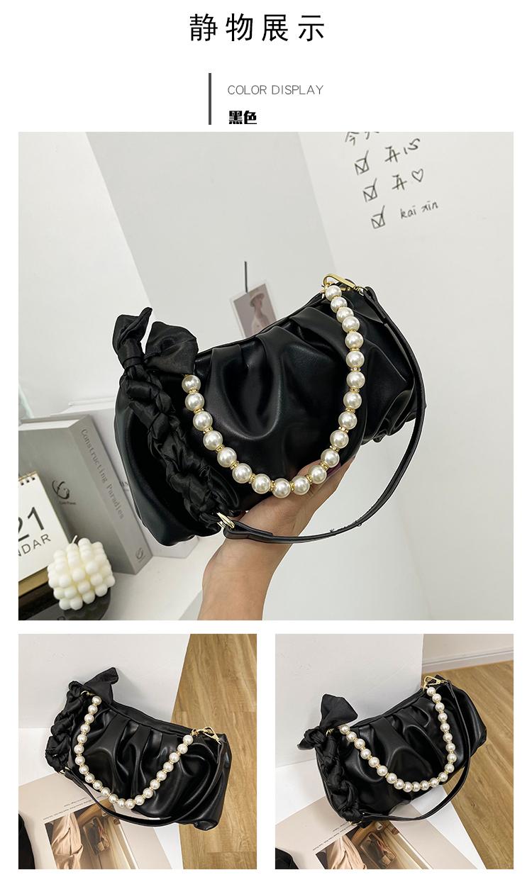 korean style solid color pleated pearl Underarm cloud bag NHAV367953