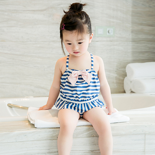 18823ba5a139 Children's swimsuit one-piece girl striped small girl baby swimsuit set ...