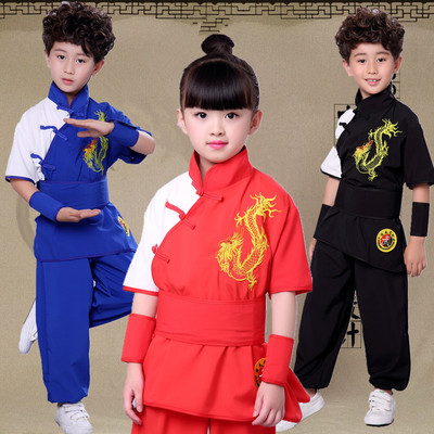 Boys Martial arts Kungfu & Tai-Chi Uniforms for Girls children martial arts training clothes martial arts school physical training clothes loyal to the country children martial arts